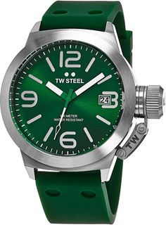 TW Steel Canteen Watch Mens - Green Dial Date TW Steel Watch Mens - Green Silicone Rubber Band 45mm Stainless Steel Watch TW505. Brushed stainless steel case (45 mm in diameter, 15 mm thick), Stainless steel screw-down case-back with embossed TW Steel logo. Green sunray dial with TW Steel logo at the 12 o'clock position, Silvered hands, indices and Arabic numerals. Date window at the 3 o'clock position, Reinforced mineral crystal, Screw-down crown cap. Quartz movement, Miyota caliber 2415...