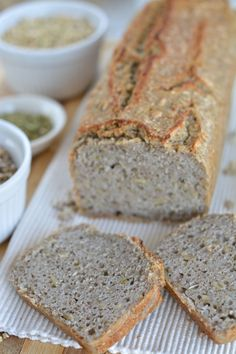 Fermented Buckwheat Bread with Hemp Seed Spread - Faydalı Bitkiler Gluten Free Baking, Vegan Baking, Healthy Baking, Bread Baking, Gluten Free Recipes, Buckwheat Bread, Buckwheat Recipes, Vegan Bread, Keto Bread