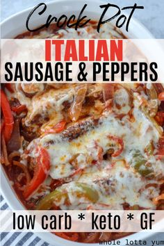 Crockpot Sausage and Peppers (Low Carb, Keto) Low carb keto sausage and peppers in your crock pot that makes the BEST keto dinner recipe! You'll love these saucy and cheesy slow cooker Italian sausages. Sausage And Peppers Crockpot, Crockpot Italian Sausage, Italian Sausages, Crock Pot Sausage, Keto Sausage Recipe, Dinner Crockpot, Grilled Italian Sausage, Kielbasa Sausage, Crock Pot Recipes