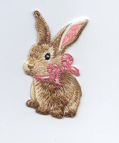 Iron-On Applique Embroidered Patch Brown Easter Bunny Rabbit Pink Bow