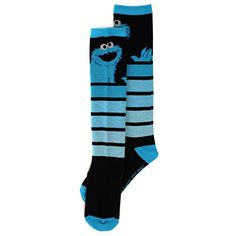 Sesame Street Cookie Monster Womens Knee High Socks  Can you tell us how to get to Sesame Street? These women's Sesame Street knee high novelty socks are the perfect accessory for any outfit! This fun pair of mix and match socks features graphics of your favorite monster, Cookie Monster! Sock size 9-11 fits women's shoe sizes 4-10. Crafted from 68% acrylic, 30% nylon, and 2% spandex. Perfect choice for any fan of Sesame Street's Cookie Monster! Sock size 9-11 fits shoe sizes 4 – 10 M..