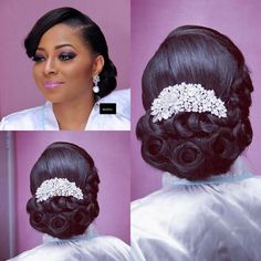 When it comes to wedding hairstyles there is no incorrect and correct, merely a distinction in preference. During the wedding gown search, brides are able to try on sample after… Black Brides Hairstyles, Black Bridesmaids Hairstyles, African Wedding Hairstyles, Natural Wedding Hairstyles, Great Hairstyles, Bride Hairstyles, Natural Bridal Hair, Bridal Hair Buns, Wedding Hair And Makeup