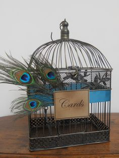 Peacock Birdcage Card Holder