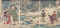 "Utagawa Kunisada and Utagawa Hiroshige, Triptych: Garden of Snow, from the series ""Rustic Genji"" (Inaka Genji), Japanese, Late Edo period, 1854, Harvard Art Museums/Arthur M. Sackler Museum."