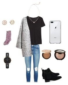"""""""Winter ready ❄️"""" by lizakappil on Polyvore featuring J Brand, The Row, Chicnova Fashion, Lands' End, TOMS, Kendra Scott, Too Faced Cosmetics, Becca, Tory Burch and Daniel Wellington"""