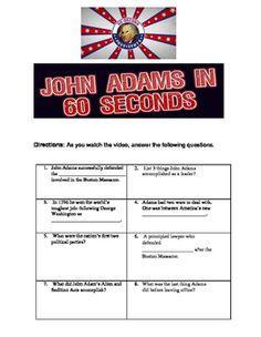 John Adams in 60 Seconds John Adams Presidency, Political Party, George Washington, His Hands, Britain, Presidents, Politics