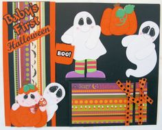 SOLD Baby's First Halloween Scrapbook Border and Embellishments, Click here to visit the best site for handmade scrapbook pages and other paper crafts:  http://www.etsy.com/shop/SWAKScrappin