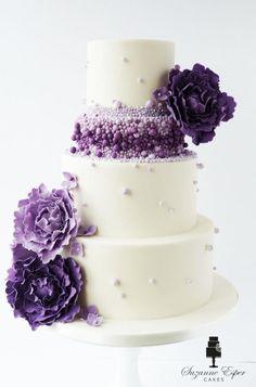 Purple ombre beaded wedding cake