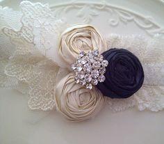 Wedding Garter Navy Blue Garter SET Bridal Garters by DeesByDesign