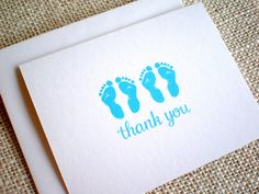 Baby Girl Twins Thank You Cards - Set of 10 Cute Pink Twin Footprints Baby Shower Thank You Notes - Hand Drawn Twin Thank You Cards Baby Thank You Cards, Baby Boy Cards, Baby Shower Thank You, Thank You Notes, New Baby Gifts, Cute Pink, New Baby Products, Footprints, How To Draw Hands