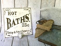 Shabby Chic Bathroom Sign White/ or Pick Color Bath Sign