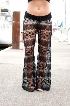 boho beach gypsy | boho gypsy festival dance beach crochet lace horizontal pattern pants ...