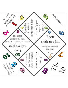 the 10 Commandments via an old school cootie-catcher...what's not to love...besides the font.