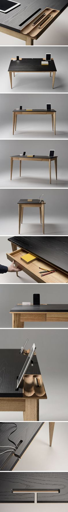 A regular desk with a drawer seems just plain drab compared to the uber-cool OLLLY desk! Not only handsome, it's also designed to accommodate all your modern devices and not-so-modern apparatuses. Aside from a pull-out drawer at its center, it also features grooves on either side to hold and keep your pens, pencils, stylus or other writing utensils from rolling around. It also has openings dedicated to propping up your tablet, phone or other slim techs for easy viewing