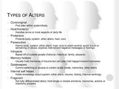Types of alters in Dissociative Identity Disorder