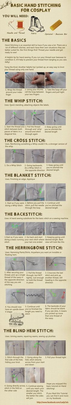 Here's a quick little tutorial on the different types of hand stitching I most commonly use. This is by no means an exhaustive list of stitches, but these are the stitches I most commonly use when ...