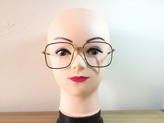 aacced43be Square Gold Eyeglasses Vintage Brown Glasses Mount pad Large Glasses  Oversize Retro Hipster Glasses Nerd glasses 80s Spectacle Frame Cool