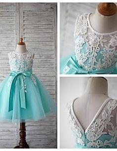 Vestido+de+Niña+Florista+-+Corte+A+Hasta+la+Rodilla+-+Encaje...+–+MXN+$+1,121.81