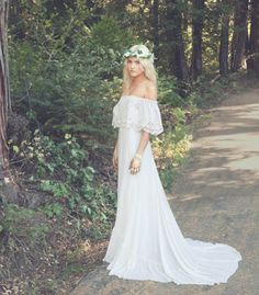 "Bohemian Wedding Dress 1970s Hippie Bohemian Gown Cream Ivory Off The Shoulder Lace Ruffle Trim - ""Haden"""