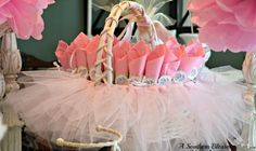 A tulle basket. Take regular basket and tie tulle to make tutu like. Perfect for my princess baby shower and the girls bday party etc. by Maria del Socorro pinzon
