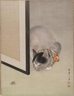 Ôide Tôkô (Japanese, 1841–1905). Cat Watching a Spider, 19th century. Japan. The Metropolitan Museum of Art, New York.
