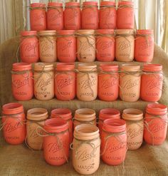 Painted Mason Jars - use as Flower Vases / Rustic Centerpieces