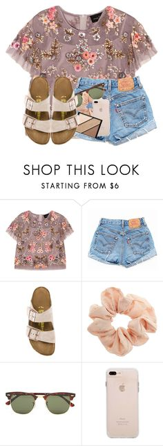 """""""yesterday's shopping haul in dddd"""" by madiweeksss ❤ liked on Polyvore featuring Needle & Thread, Levi's, Birkenstock, Topshop, Ray-Ban, Case-Mate and Elizabeth Arden"""