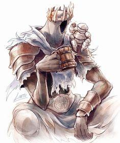 Knight of Catarina sitting down for some jolly grog with Yhorm the Giant. Dark Souls 3, Arte Dark Souls, Dark Fantasy, Fantasy Art, Dibujos Dark, Soul Saga, Bloodborne Art, Dark Blood, Smileys