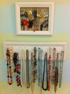 earring and necklace organizers> What she did: I used a frame from goodwill and painted it white, then stapled burlap across the back for the earring holder. I used a scrap piece of wood and some screw hooks i had in my tool closet, painted them all white, then added the cheap preassembled frame of wall molding from Lowes for the necklace holder.