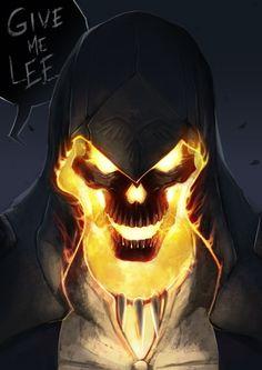 Hooded Flaming Skull