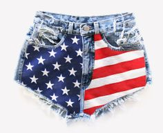 *Custom item takes 5 business to ship* Signature design. Vintage American flag cut off denim shorts. High cut and high waisted. Holes, rips and frayed with pockets showing on the bottom. Super frayed. Perfect. **As a one-of-a-kind vintage, actual item will vary slightly from what's pictured. Made...