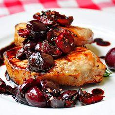 Grilled Pork Loin Chops with Balsamic Thyme Cherries #glutenfree #grainfree #paleo