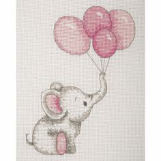 Elephant with Balloons (Pink) Cross Stitch Kit Cross Stitch Beginner, Cross Stitch For Kids, Mini Cross Stitch, Cross Stitch Borders, Counted Cross Stitch Kits, Cross Stitch Designs, Cross Stitch Embroidery, Cross Stitching, Hand Embroidery