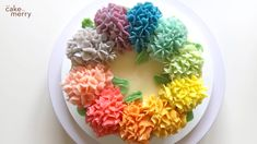 How To Pipe A Rainbow Buttercream Hydrangea Cake using tip cake cheesecake cake cupcakes cake decoration cake fancy dessert cake Cake Decorating Frosting, Creative Cake Decorating, Cake Decorating Videos, Cake Decorating Techniques, Cookie Decorating, Creative Cakes, Decorating Ideas, Pretty Cakes, Beautiful Cakes