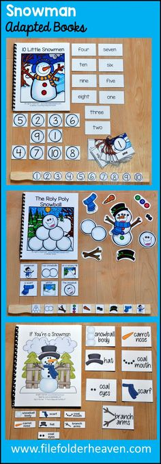 Teach, re-visit and review snowman and winter themed activities with hands-on interaction and interactive adapted books.