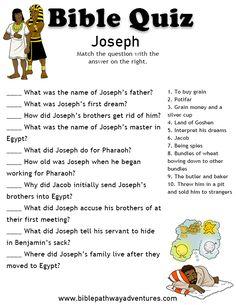 Printable bible quiz - Joseph.