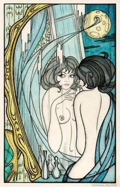 Маргарита, получившая волшебный крем, любуется на себя. Иллюстрации Юрия Смирнова