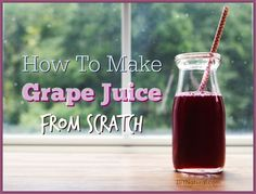 Learn how to make grape juice at home from scratch! How to pick the grapes, wash them, and turn them into juice. All you have to do is make it and drink it. I used about half my juice for grape jelly. the juice didn't need very much sugar at all! Grape Jelly, Grape Juice, Fruit Juice, Celery Juice, V8 Juice, Avocado Juice, Pineapple Juice, How To Make Juice, How To Make Pickles