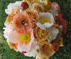 creamy peach orange bouquet ranunculus poppy studio stems bridal
