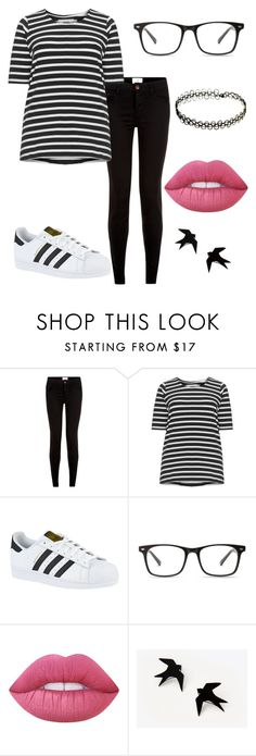 """Black and White"" by emmy-awards ❤ liked on Polyvore featuring New Look, Zizzi, adidas and Lime Crime"