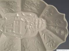 Staffordshire White Salt-Glazed Stoneware Pickle Dish, Available for sale. Types Of Ceramics, English Pottery, Chinese Landscape, Stoneware Mugs, Wood Bridge, Mold Making, Pickle, Chinoiserie, The Hamptons
