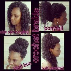 American and African Hair Braiding : The versatility of crochet braids - Beauty Haircut Crochet Braids Hairstyles, African Braids Hairstyles, Weave Hairstyles, Protective Hairstyles, Protective Styles, Curly Hair Styles, Natural Hair Styles, Coiffure Hair, Crochet Braid Styles