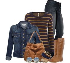 Winter Clothing: cute long sleeve shirt cute jean jacket cute boots  cute jeans maybe add a scarf