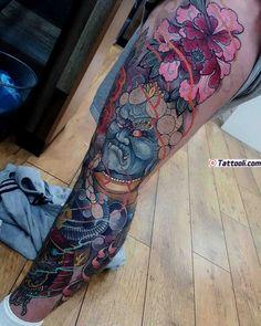 Neo-Japanese Tattoo on Leg by Elliott Wells Japanese Tattoos For Men, Japanese Tattoo Symbols, Japanese Tattoo Designs, Japanese Tattoo Art, Japanese Sleeve Tattoos, Best Sleeve Tattoos, Leg Tattoos, Body Art Tattoos, Tattoos For Guys