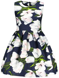 Flower 3D Print Ruched Fit and Flare Dress.... this dress is so me, I have one with the same pattern lol