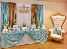 Distinctive Decor Rentals's Baby Shower / - A Lil Prince is coming soon. at Catch My Party Baby Shower Photos, Boy Baby Shower Themes, Baby Shower Fun, Baby Shower Printables, Shower Party, Baby Shower Parties, Baby Shower Treats, Royal Baby Showers, Baby Shower Princess
