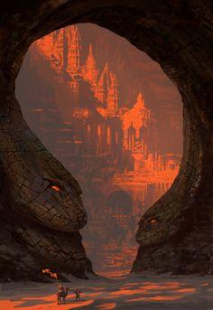 New desert landscape illustration fantasy art ideas Fantasy City, Fantasy Places, Fantasy Kunst, Fantasy World, Dark Fantasy, Foto Fantasy, Fantasy Island, Fantasy Art Landscapes, Fantasy Landscape
