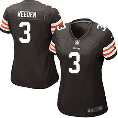 98b471eb0 Women s Nike Cleveland Browns  3 Brandon Weeden Elite Team Color Brown  Jersey Framed Jersey