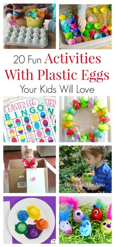 Plastic Easter eggs are fun and perfect for educational and creative ideas. Learn colors and letter and number recognition with plastic eggs. Get creative with your leftover Easter eggs. Activities for toddlers, preschoolers and kids of all ages. Easter e Easter Activities For Kids, Spring Crafts For Kids, Games For Toddlers, Spring Activities, Baby Activities, Educational Activities, Holiday Activities, Preschool Activities, Bunny Crafts