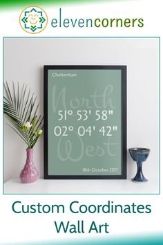 Personalised GPS coordinates print showing the longitude and latitude of any location on the planet. Add your own text too, to celebrate a date or event. Unique personalised new home gift idea. #elevencorners #coordinates #personalisedprint #wallart #giftidea #newhomegift #housewarming Personalised Prints, Personalized Wall Art, Personalized Wedding, Personalized Gifts, Handmade Gifts, New Home Presents, New Home Gifts, Family Wall Art, Grandparent Gifts